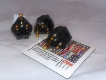 5A Round pin plug - Black - unfused